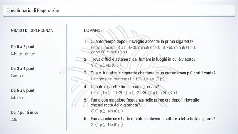 questionario di fagerstrom nel corso e-learning sul tabagismo